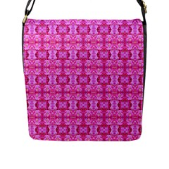 Pretty Pink Flower Pattern Flap Messenger Bag (L)