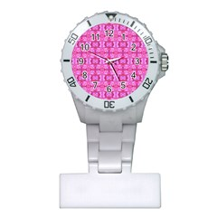 Pretty Pink Flower Pattern Nurses Watches