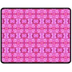 Pretty Pink Flower Pattern Double Sided Fleece Blanket (Medium)