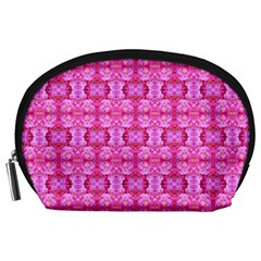 Pretty Pink Flower Pattern Accessory Pouches (Large)
