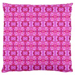 Pretty Pink Flower Pattern Large Flano Cushion Cases (One Side)