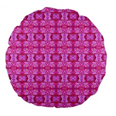 Pretty Pink Flower Pattern Large 18  Premium Flano Round Cushions