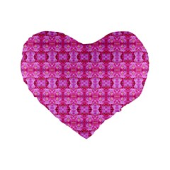 Pretty Pink Flower Pattern Standard 16  Premium Flano Heart Shape Cushions