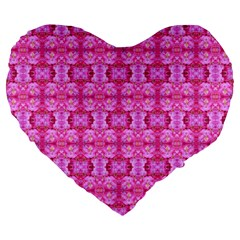Pretty Pink Flower Pattern Large 19  Premium Flano Heart Shape Cushions