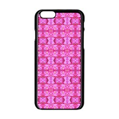 Pretty Pink Flower Pattern Apple iPhone 6/6S Black Enamel Case