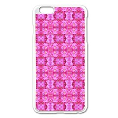 Pretty Pink Flower Pattern Apple iPhone 6 Plus/6S Plus Enamel White Case