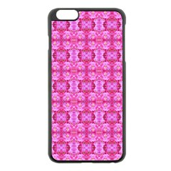 Pretty Pink Flower Pattern Apple iPhone 6 Plus/6S Plus Black Enamel Case