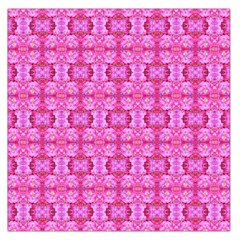 Pretty Pink Flower Pattern Large Satin Scarf (Square)