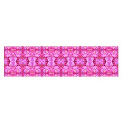 Pretty Pink Flower Pattern Satin Scarf (Oblong)