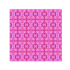 Pretty Pink Flower Pattern Small Satin Scarf (Square)