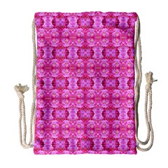 Pretty Pink Flower Pattern Drawstring Bag (Large)