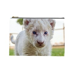White Lion Cub Cosmetic Bag (large)  by trendistuff