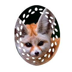 Baby Fox Oval Filigree Ornament (2 Side)