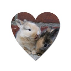 Small Baby Rabbits Heart Magnet by trendistuff