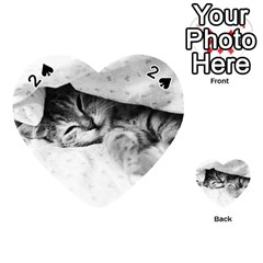 Sleepy Kitty Playing Cards 54 (heart)  by trendistuff