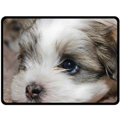 Sad Puppy Double Sided Fleece Blanket (large)