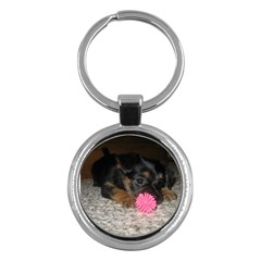Puppy With A Chew Toy Key Chains (round)  by trendistuff