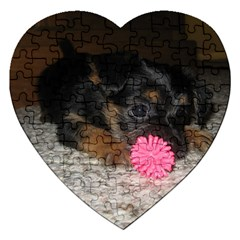 Puppy With A Chew Toy Jigsaw Puzzle (heart) by trendistuff