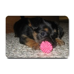 Puppy With A Chew Toy Small Doormat  by trendistuff