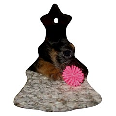 Puppy With A Chew Toy Ornament (christmas Tree) by trendistuff