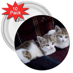 Kitty Twins 3  Buttons (10 Pack)  by trendistuff
