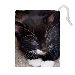 Kitty In A Corner Drawstring Pouches (extra Large) by trendistuff
