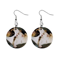 Calico Cat And White Kitty Mini Button Earrings