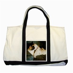 Calico Cat And White Kitty Two Tone Tote Bag  by trendistuff
