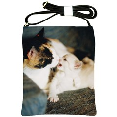Calico Cat And White Kitty Shoulder Sling Bags by trendistuff