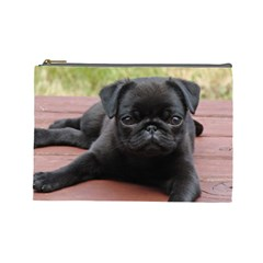 Alert Pug Puppy Cosmetic Bag (large)  by trendistuff