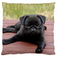 Alert Pug Puppy Large Flano Cushion Cases (one Side)  by trendistuff
