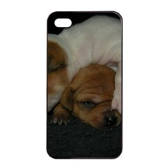 Adorable Baby Puppies Apple Iphone 4/4s Seamless Case (black) by trendistuff