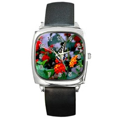 Butterfly Flowers 1 Square Metal Watches by trendistuff