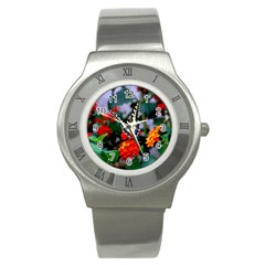 Butterfly Flowers 1 Stainless Steel Watches by trendistuff