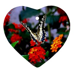 Butterfly Flowers 1 Heart Ornament (2 Sides) by trendistuff