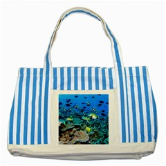 Fr Frigate Shoals Striped Blue Tote Bag  by trendistuff