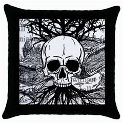 Skull & Books Throw Pillow Cases (black)