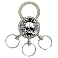 Skull & Books 3 Ring Key Chains by waywardmuse