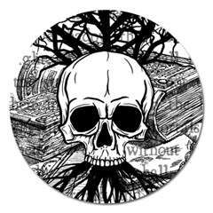 Skull & Books Magnet 5  (round) by waywardmuse