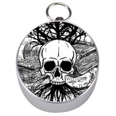 Skull & Books Silver Compasses by waywardmuse