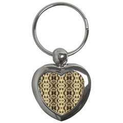 Gold Fabric Pattern Design Key Chains (heart)  by Costasonlineshop