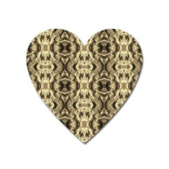 Gold Fabric Pattern Design Heart Magnet by Costasonlineshop