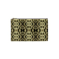 Gold Fabric Pattern Design Cosmetic Bag (small)  by Costasonlineshop