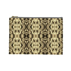 Gold Fabric Pattern Design Cosmetic Bag (large)  by Costasonlineshop