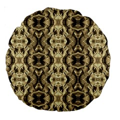 Gold Fabric Pattern Design Large 18  Premium Round Cushions by Costasonlineshop