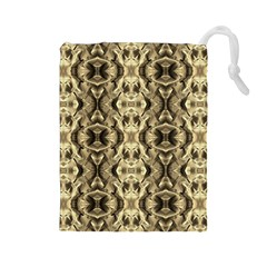 Gold Fabric Pattern Design Drawstring Pouches (large)  by Costasonlineshop