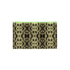 Gold Fabric Pattern Design Cosmetic Bag (xs) by Costasonlineshop