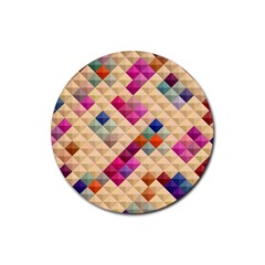 Mosaic & Co 01a  Rubber Coaster (round)  by MoreColorsinLife