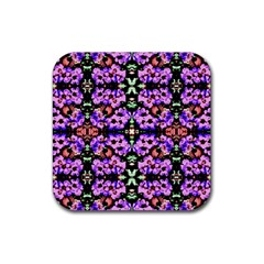 Purple Green Flowers With Green Rubber Coaster (square)