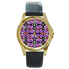 Purple Green Flowers With Green Round Gold Metal Watches by Costasonlineshop